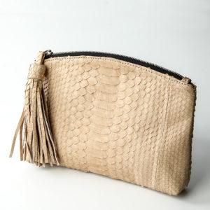 Håndtaske python skind - creme - Kundalini Beauty Clutch