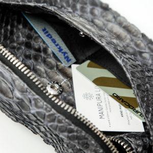 kundalini crossbody bum bag python skin inside